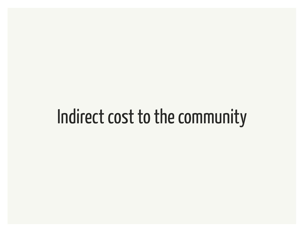 Indirect cost to the community