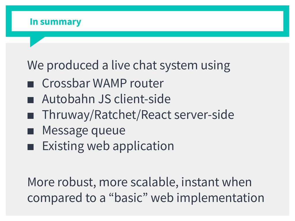 In summary We produced a live chat system using...