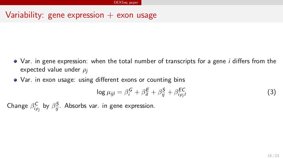 DEXSeq paper Variability: gene expression + exo...