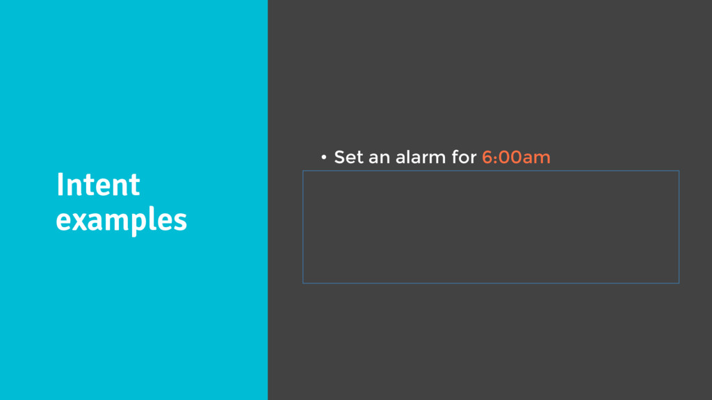 Intent examples • Set an alarm for 6:00am • Wak...