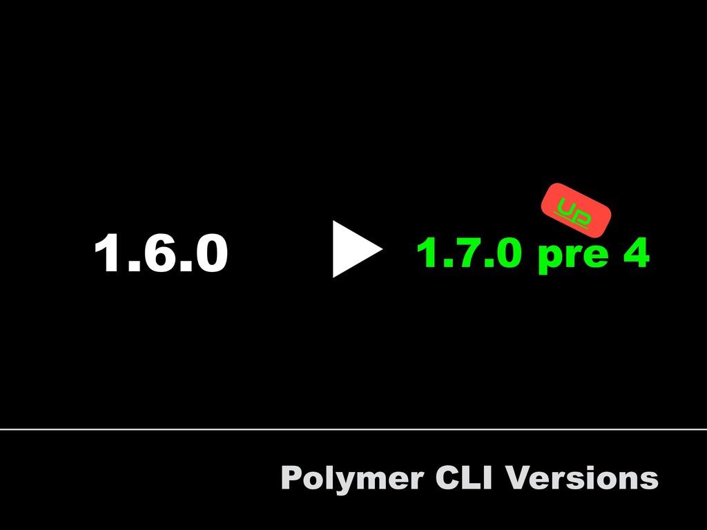 Polymer CLI Versions 1.6.0 1.7.0 pre 4 ▶︎ Up