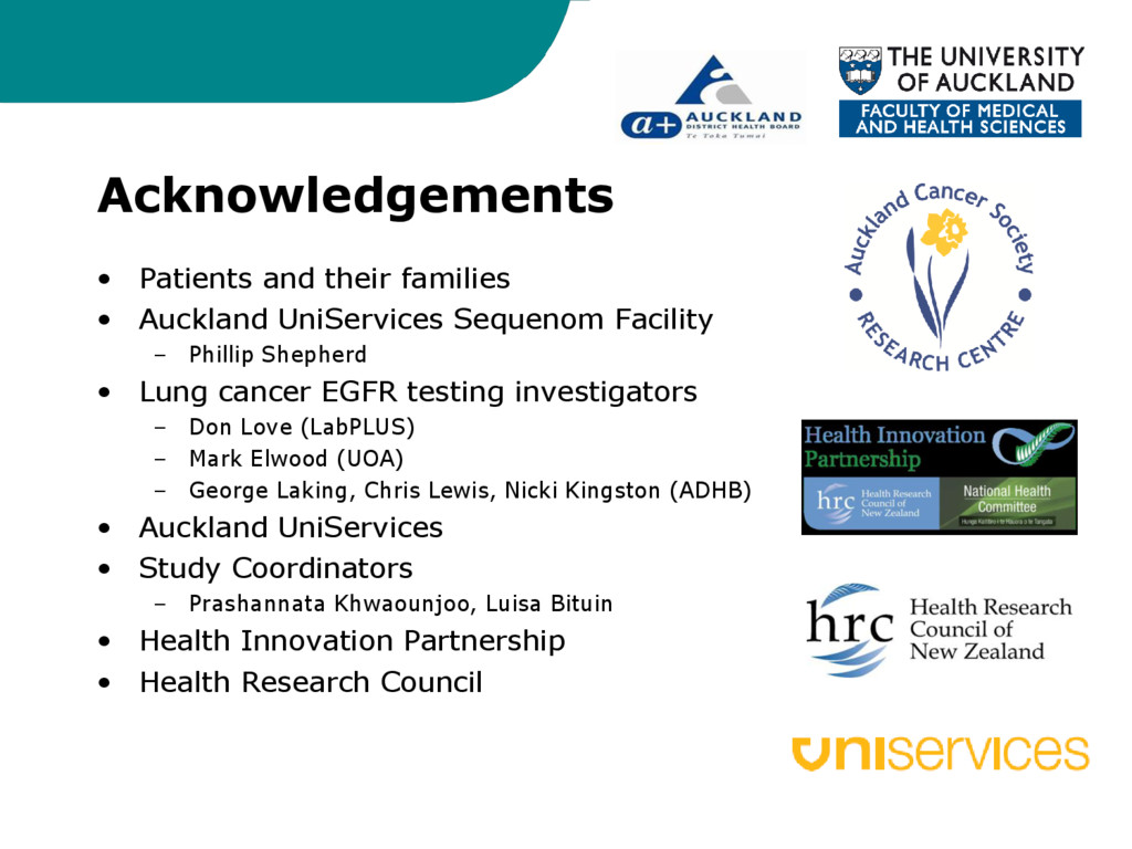Acknowledgements • Patients and their families ...