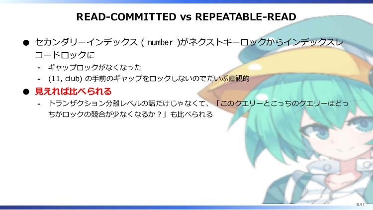 READ-COMMITTED vs REPEATABLE-READ セカンダリーインデックス ...