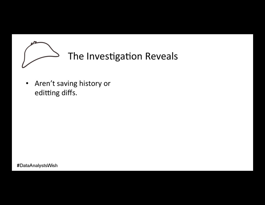 The Inves/ga/on Reveals • Aren't saving histor...
