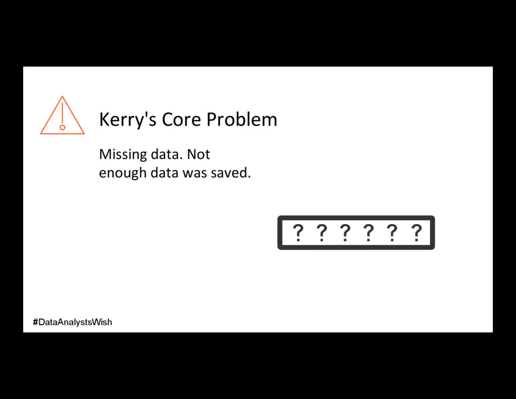 Kerry's Core Problem Missing data. Not enough d...