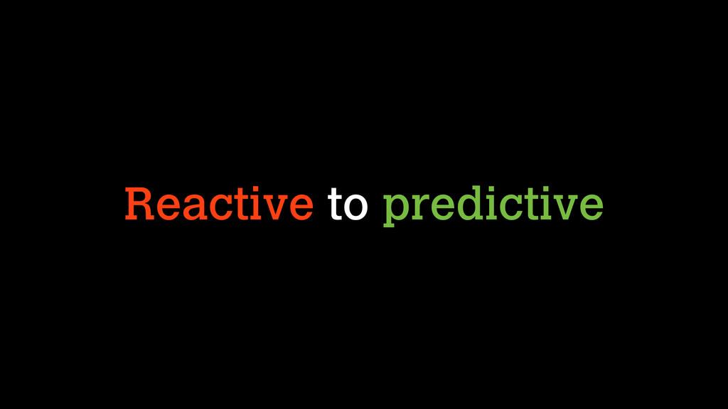 Reactive to predictive