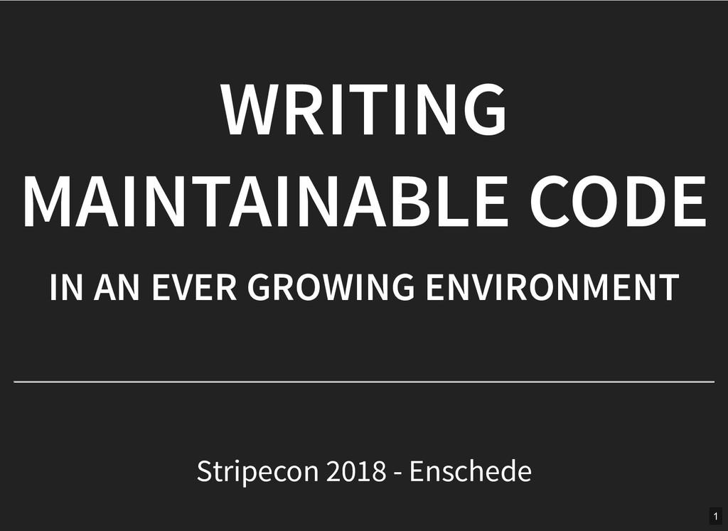 WRITING WRITING MAINTAINABLE CODE MAINTAINABLE ...