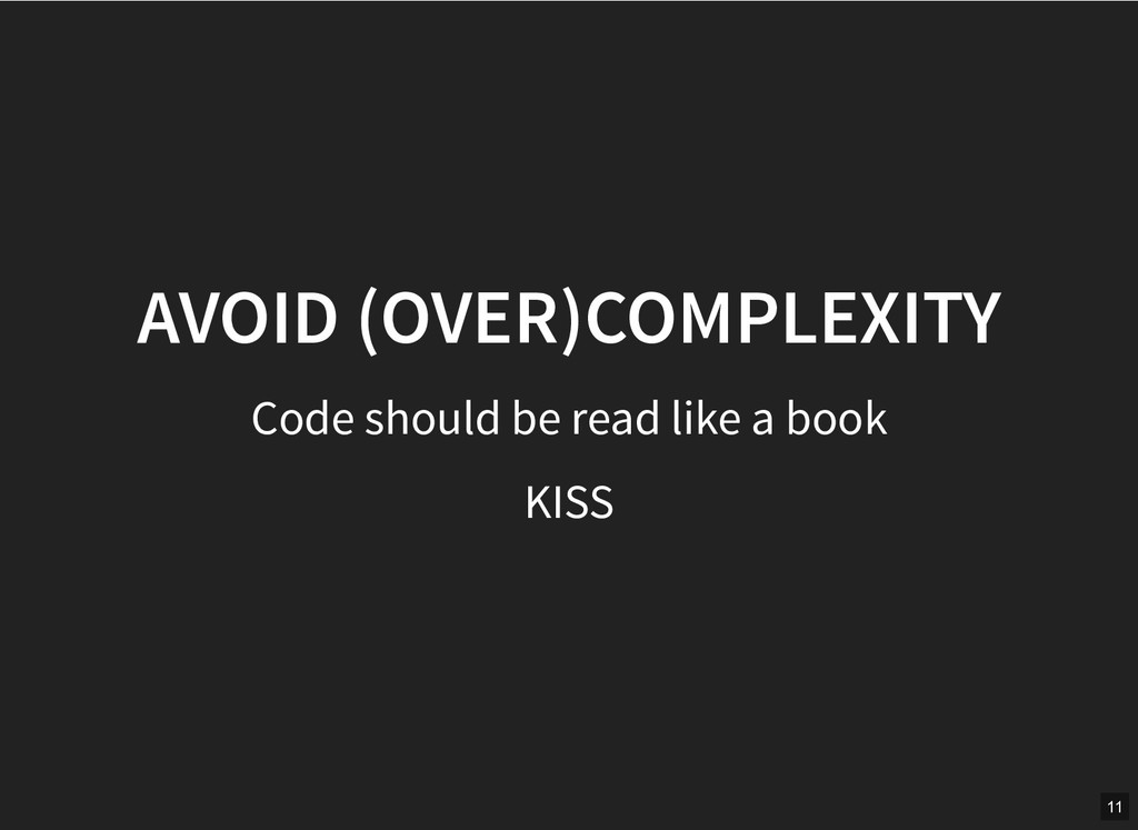 AVOID (OVER)COMPLEXITY AVOID (OVER)COMPLEXITY C...