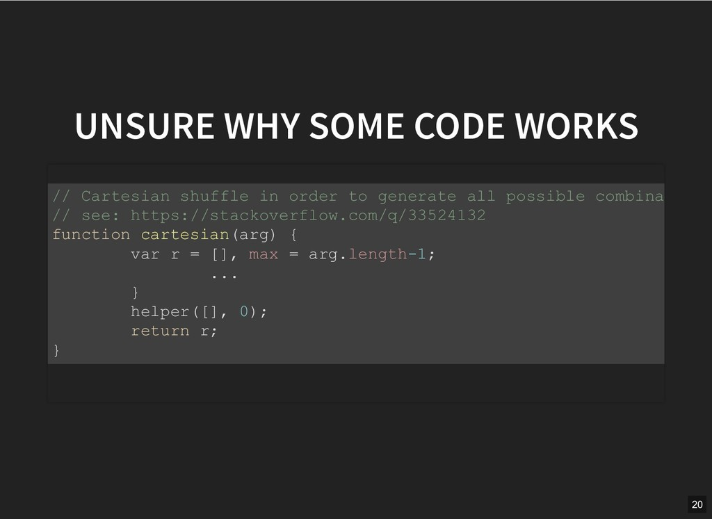 UNSURE WHY SOME CODE WORKS UNSURE WHY SOME CODE...