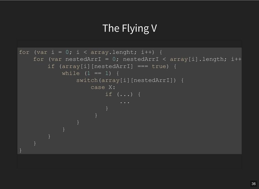 The Flying V for (var i = 0; i < array.lenght; ...