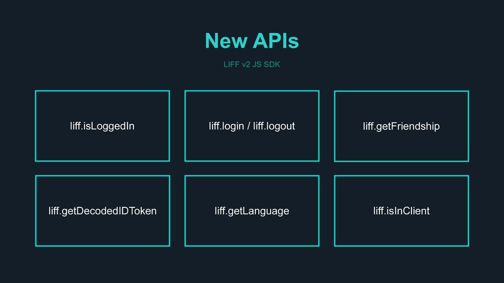 New APIs liff.isInClient liff.login / liff.logo...
