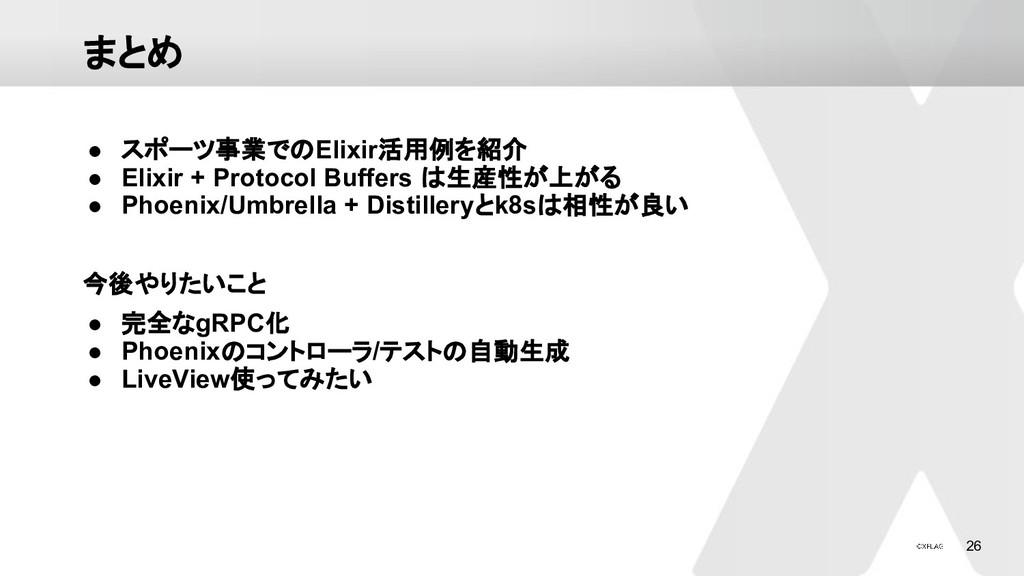 26 まとめ ● スポーツ事業でのElixir活用例を紹介 ● Elixir + Protoc...