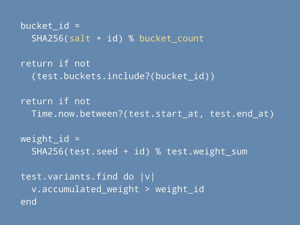 bucket_id = SHA256(salt + id) % bucket_count re...