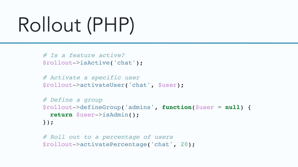 Rollout (PHP) # Is a feature active? $rollout->...