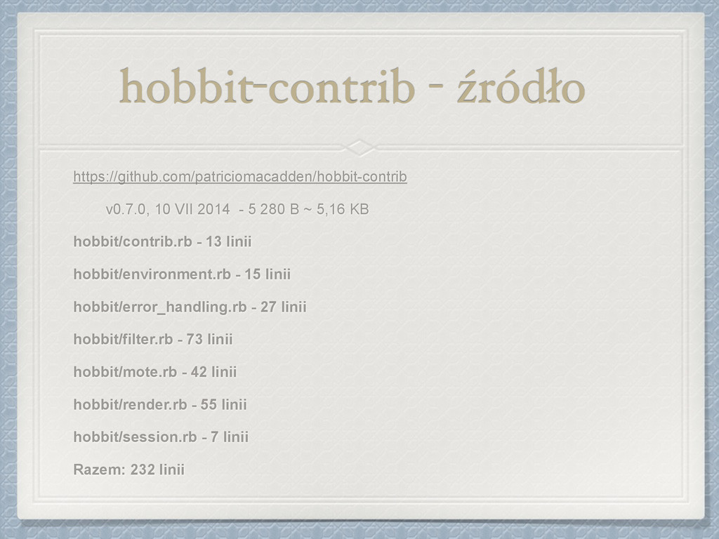 hobbit-contrib - źródło https://github.com/patr...
