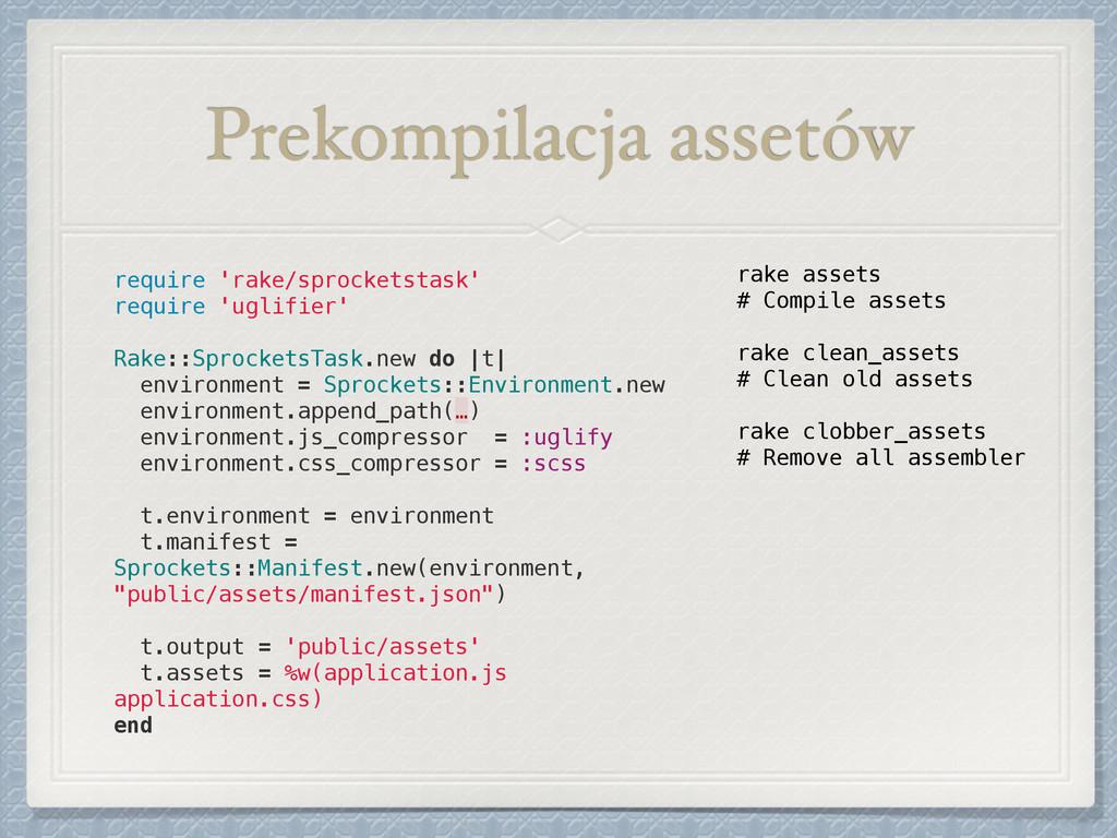Prekompilacja assetów require 'rake/sprocketsta...