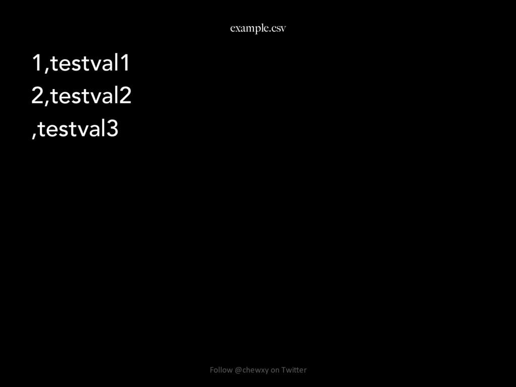 example.csv 1,testval1 2,testval2 ,testval3 Fol...