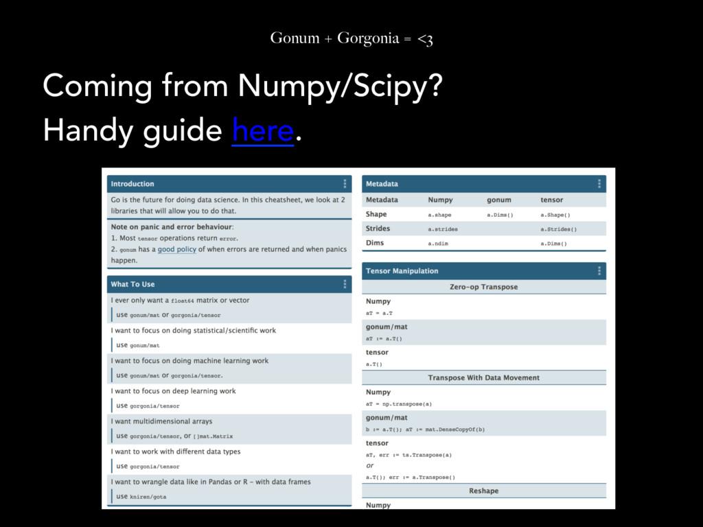 Gonum + Gorgonia = <3 Coming from Numpy/Scipy? ...