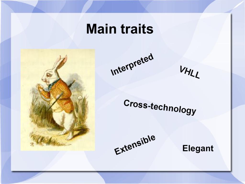 Main traits Interpreted Cross-technology Extens...