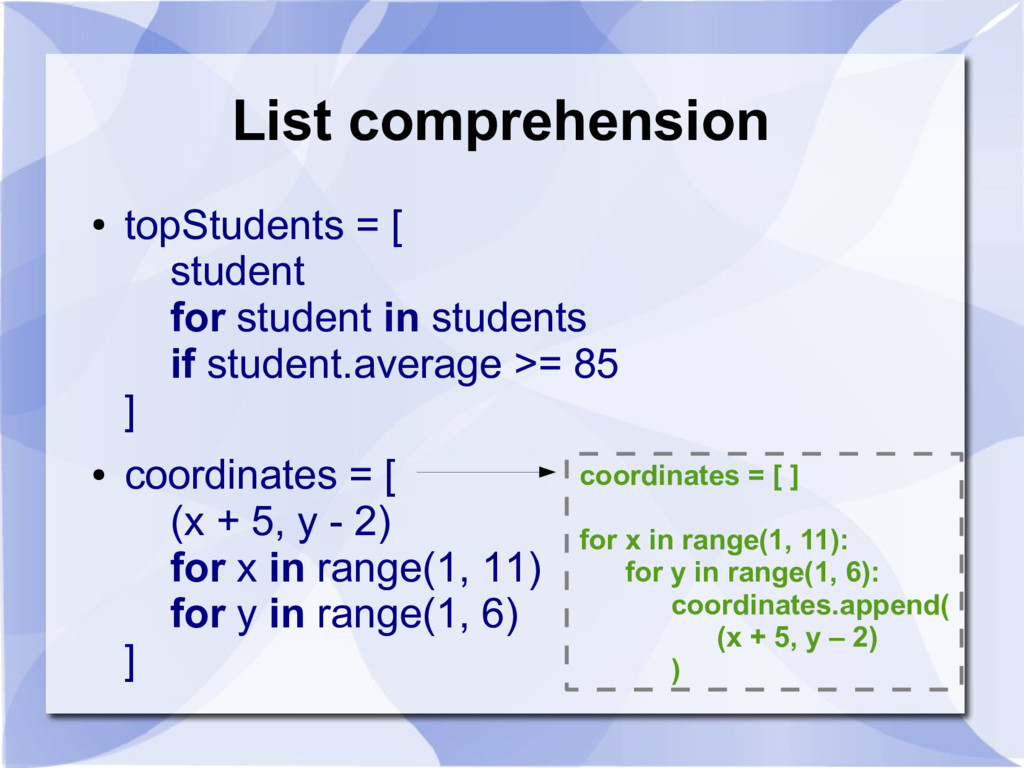 List comprehension ● topStudents = [ student fo...