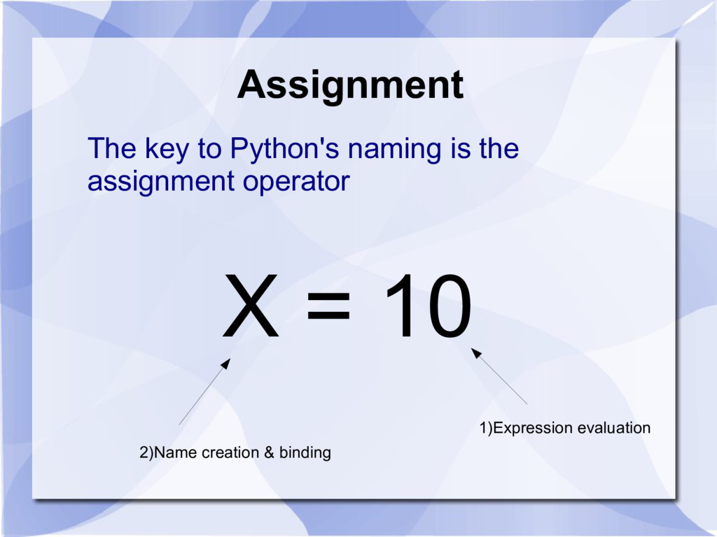 Assignment The key to Python's naming is the as...