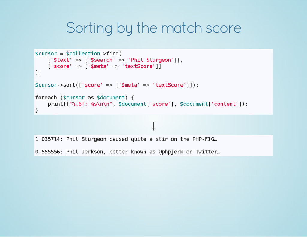Sorting by the match score $ c u r s o r = $ c ...