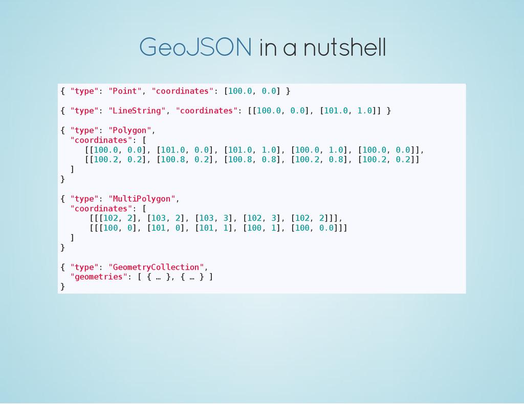 """in a nutshell GeoJSON { """" t y p e """" : """" P o i n..."""