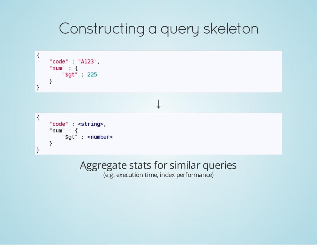 "Constructing a query skeleton { "" c o d e "" : ""..."