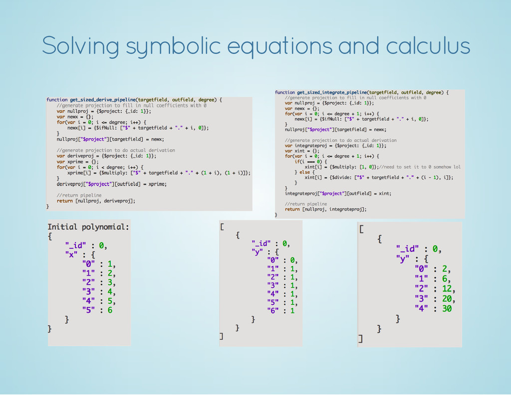 Solving symbolic equations and calculus