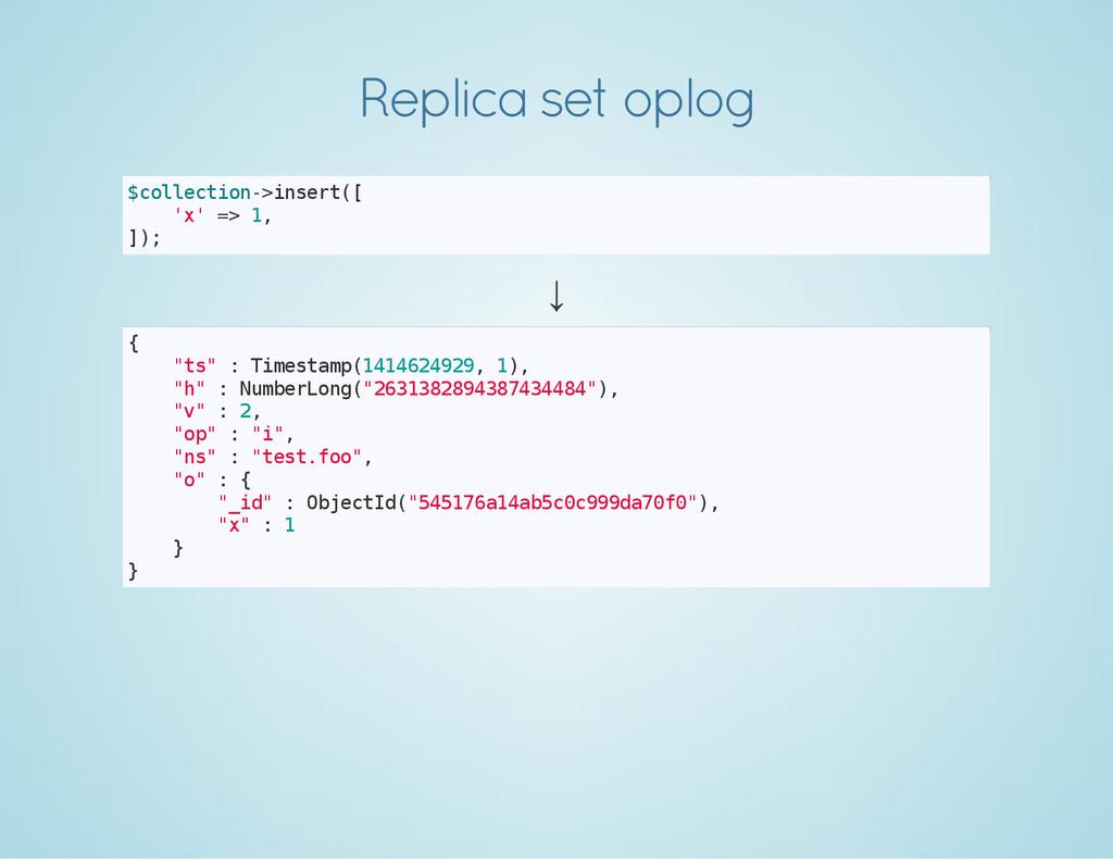 Replica set oplog $ c o l l e c t i o n - > i n...