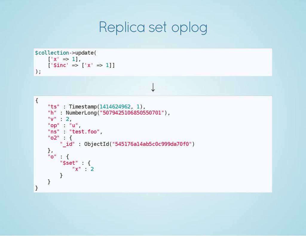 Replica set oplog $ c o l l e c t i o n - > u p...