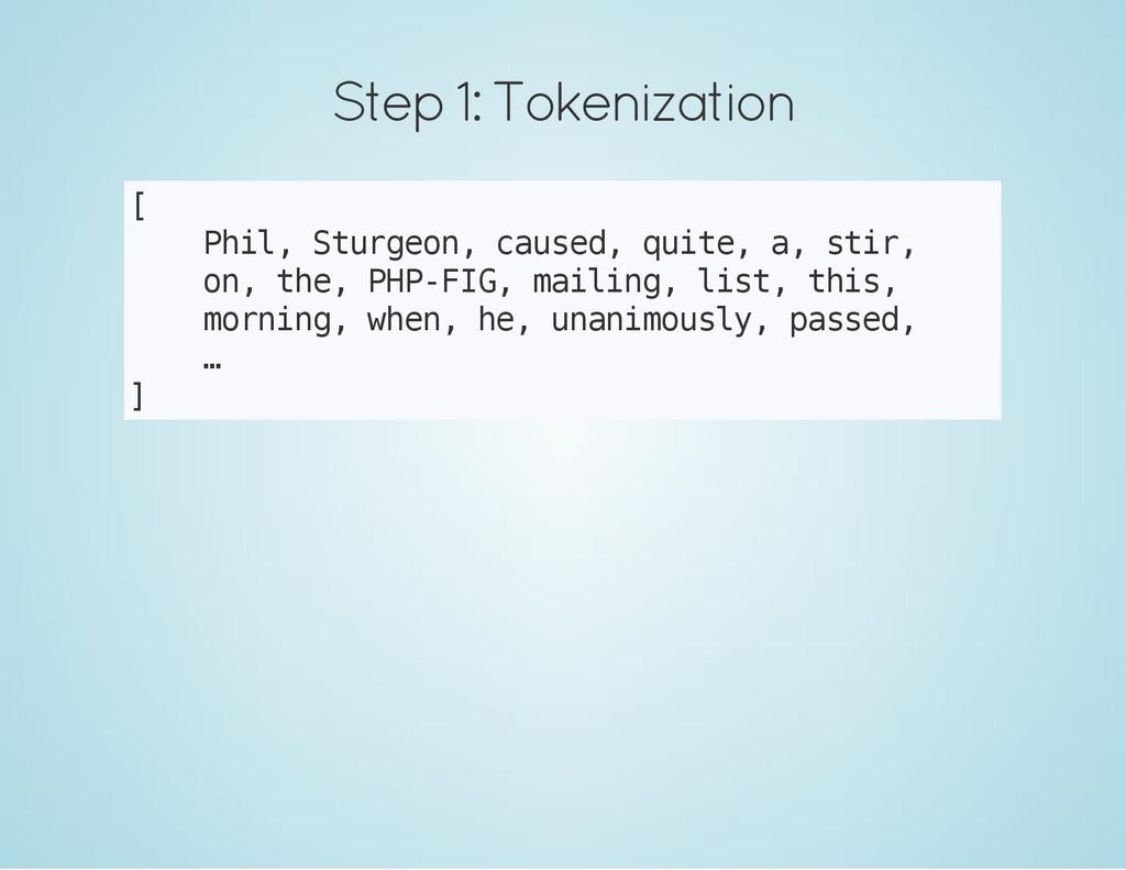 Step 1: Tokenization [ P h i l , S t u r g e o ...