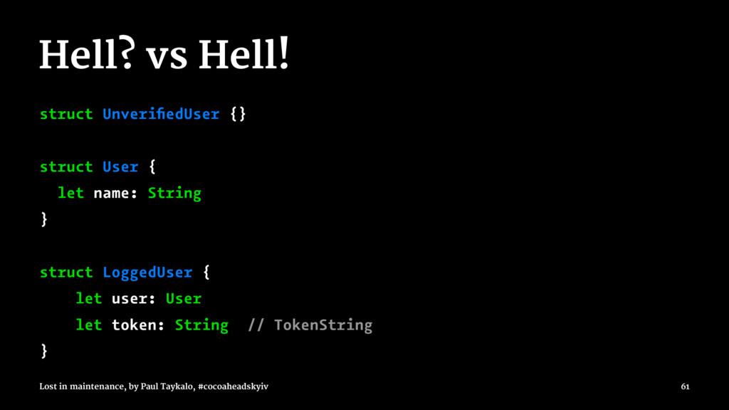 Hell? vs Hell! struct UnverifiedUser {} struct U...
