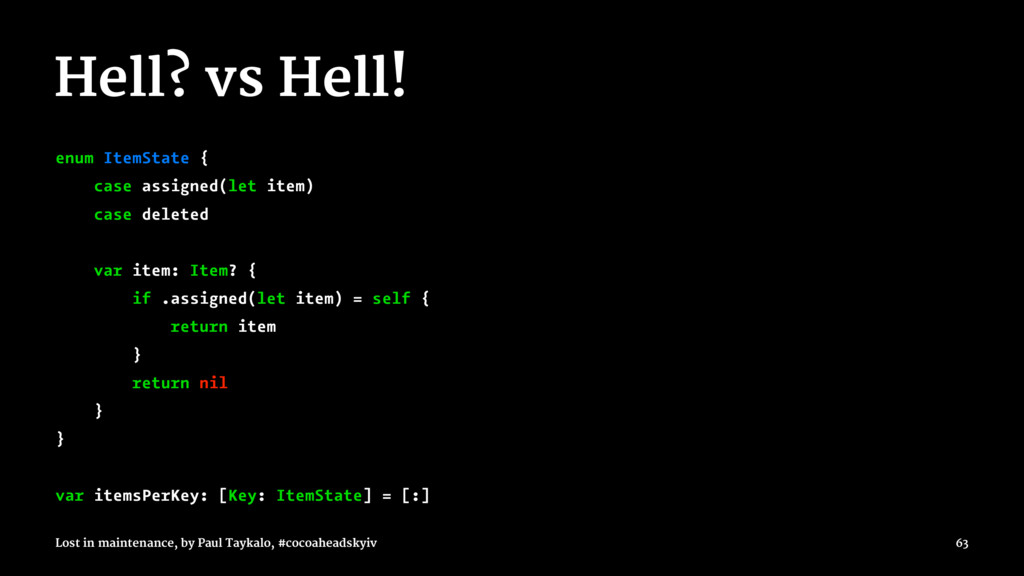 Hell? vs Hell! enum ItemState { case assigned(l...