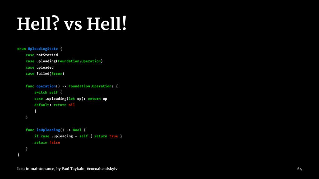 Hell? vs Hell! enum UploadingState { case notSt...