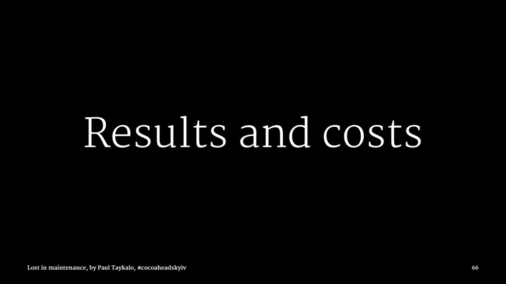 Results and costs Lost in maintenance, by Paul ...