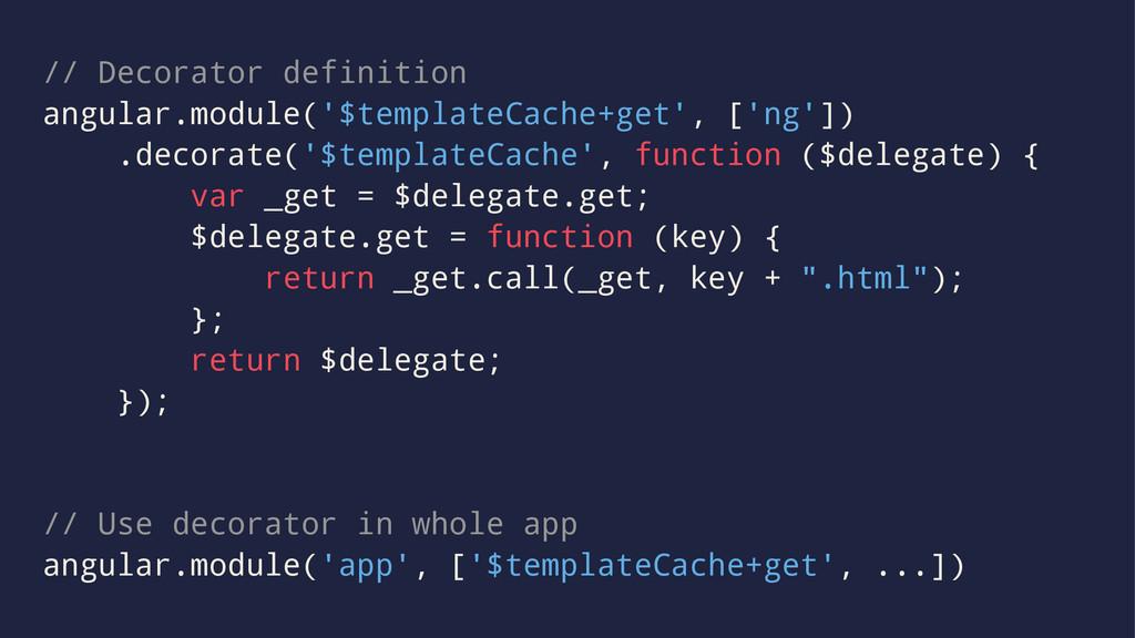 // Decorator definition angular.module('$templa...