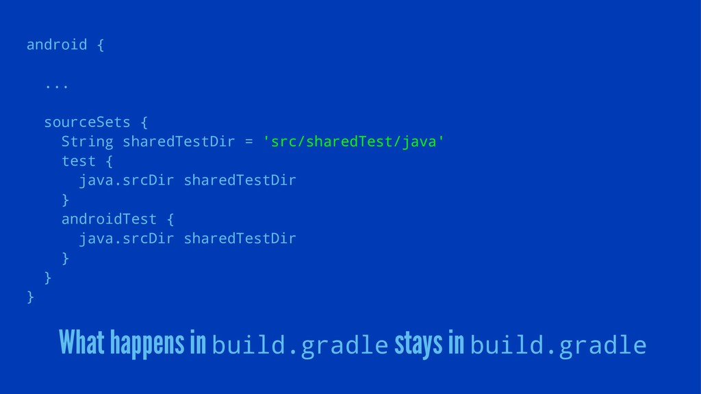 android { ... sourceSets { String sharedTestDir...