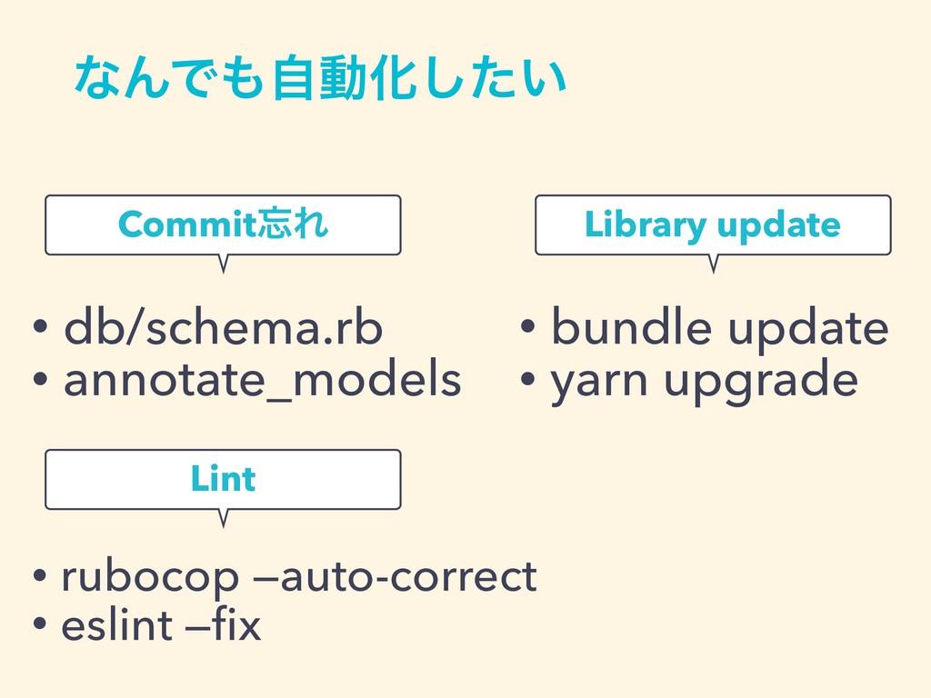 ͳΜͰࣗಈԽ͍ͨ͠ CommitΕ • db/schema.rb • annotate_m...