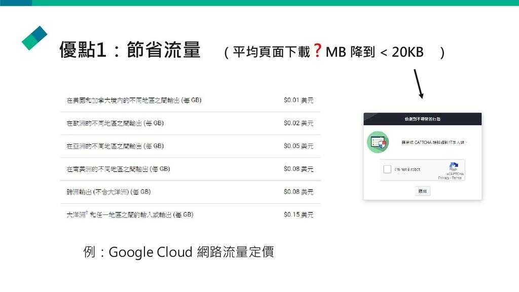 優點1:節省流量 (平均頁面下載 ? MB 降到 < 20KB ) 例:Google Clou...