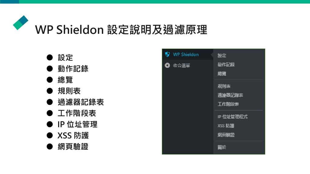 WP Shieldon 設定說明及過濾原理 ● 設定 ● 動作記錄 ● 總覽 ● 規則表 ● ...