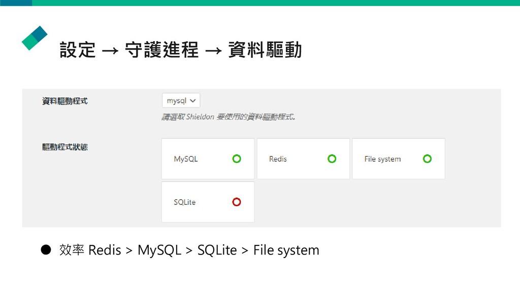 設定 → 守護進程 → 資料驅動 ● 效率 Redis > MySQL > SQLite > ...