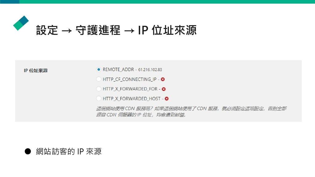 設定 → 守護進程 → IP 位址來源 ● 網站訪客的 IP 來源