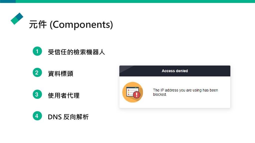 元件 (Components) 1 受信任的檢索機器人 2 資料標頭 3 使用者代理 4 DN...