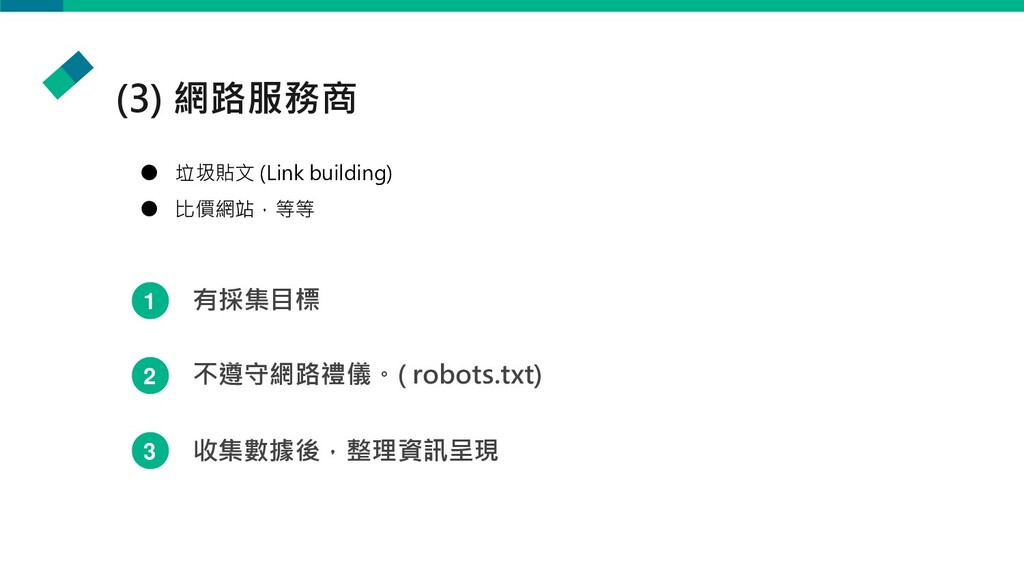 (3) 網路服務商 ● 垃圾貼文 (Link building) ● 比價網站,等等 1 有採...