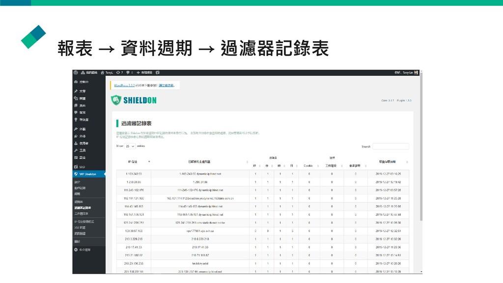 報表 → 資料週期 → 過濾器記錄表
