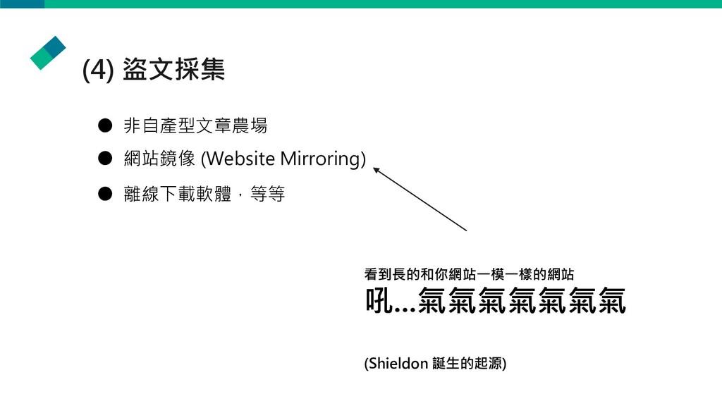 (4) 盜文採集 ● 非自產型文章農場 ● 網站鏡像 (Website Mirroring) ...