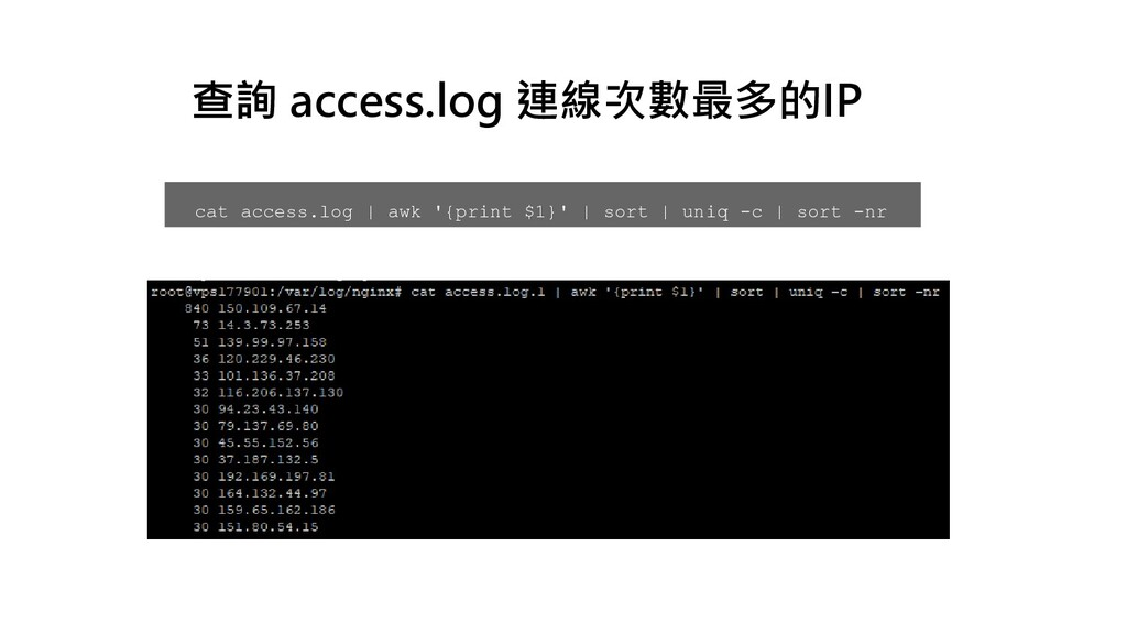 cat access.log | awk '{print $1}' | sort | uniq...