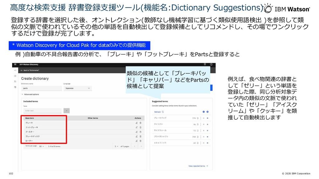 © 2020 IBM Corporation 102 登録する辞書を選択した後、オントレクショ...