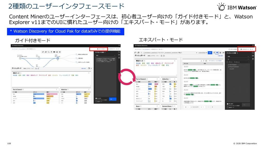 © 2020 IBM Corporation 108 Content Minerのユーザーイン...